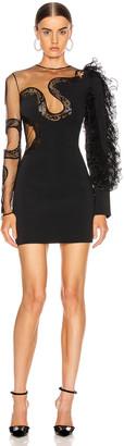 David Koma Ruffle Sleeve Snake Lace Mini Dress in Black | FWRD