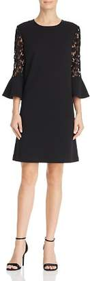 Nanette Lepore nanette Lace Sleeve Stretch Crepe Shift Dress