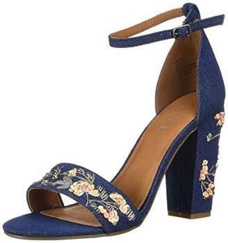Sugar Women's Slick Floral Embroidered Block Heel Sandal Heeled