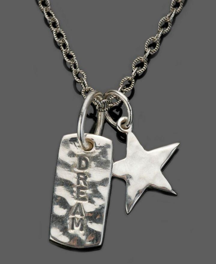 GK Designs Sterling Silver Dream Dog Tag & Star Pendant