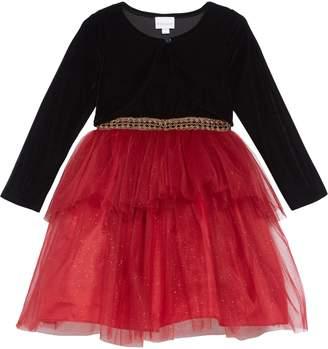 Frais Sparkle Tulle Dress & Velvet Bolero Jacket Set