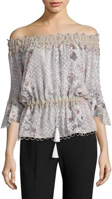 Elie Tahari Women's Zoia Floral Lace Off-The-Shoulder Bell Sleeve Blouse