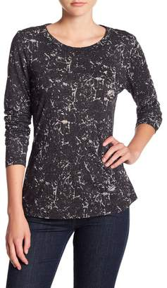 Michael Stars Patterned Crew Neck Long Sleeve Tee