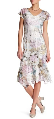 KOMAROV V-Neck Flutter Sleeve Midi Dress $272 thestylecure.com