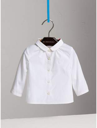 Burberry Peter Pan Collar Cotton Shirt , Size: 12M, White