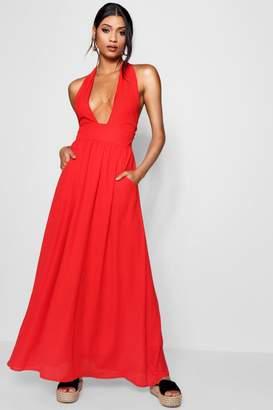 boohoo Plunge Halterneck Maxi Dress