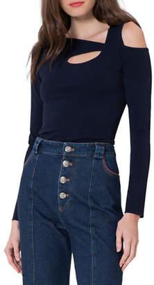 Autumn Cashmere Asymmetric Long-Sleeve Cold-Shoulder Cotton Top