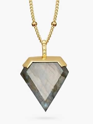 Missoma 18ct Gold Vermeil Shield Pendant Necklace, Labradorite