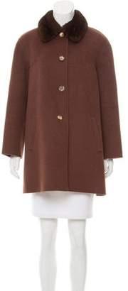 J. Mendel Mink Fur-Trimmed Knee-Length Coat