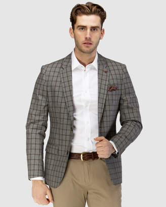 Brooksfield Linen Blend Textured Window Pane Blazer