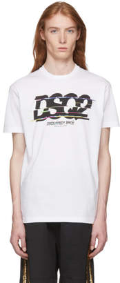 DSQUARED2 White Glitched Logo T-Shirt