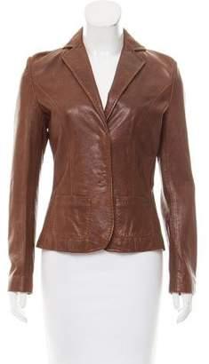 Les Copains Notch-Lapel Leather Jacket
