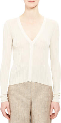 Theory V-Neck Button-Front Pointelle Cardigan