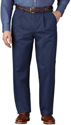 Charles Tyrwhitt Blue Classic Fit Single Pleat Weekend Cotton Chino Trousers Size W32 L30