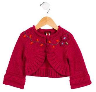 Catimini Girls' Heavy Embroidered Cardigan