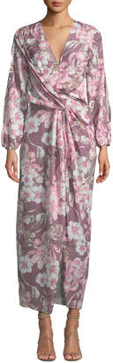 Alexia Admor Cold-Shoulder Floral-Print Knotted Midi Dress