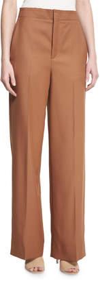 Helmut Lang High-Rise Wool Twill Pants, Autumn