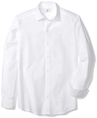 Buttoned Down Men's Fitted Supima Cotton Spread-Collar Textured Dress Casual Shirt