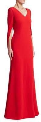 Badgley Mischka Cowl Sleeve Gown
