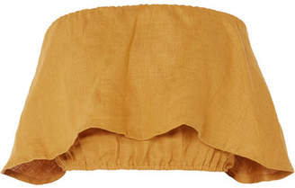 Faithfull The Brand Mala Cropped Ruffled Linen Bandeau Top - Mustard