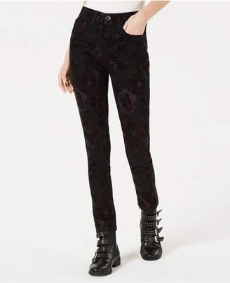 American Rag Juniors' Velvet Floral-Burnout Jeans