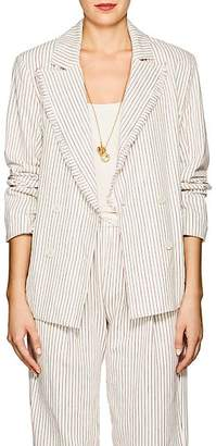 Raquel Allegra Women's Striped Cotton Double-Breasted Blazer