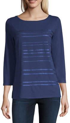 Liz Claiborne 3/4 Sleeve Boat Neck Stripe T-Shirt-Womens