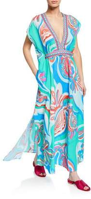 Emilio Pucci Printed Long Coverup Dress with Belt
