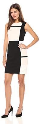 Tommy Hilfiger Women's Block Square Tri Color Scuba Crepe Dress