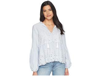 CeCe Balloon Sleeve Embroidered Blouse w/ Neck Tie