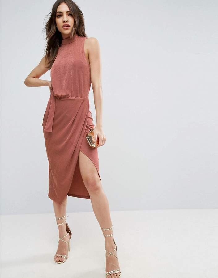 AsosASOS Slinky High Neck Tie Side Midi Bodycon Dress