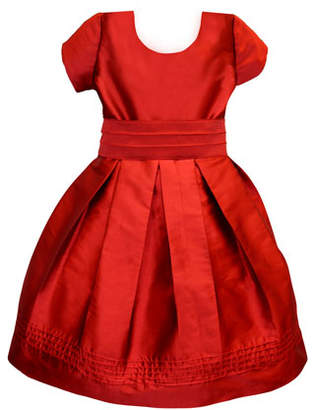 Isabel Garreton Pintucked Taffeta Dress, Size 7-8