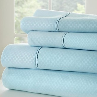 Noble Linens Premium Ultra Soft 4 Piece Embossed Checkered Bed Sheet Set