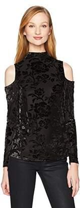 Adrianna Papell Women's Mock Neck Long Sleeve Cold Shoulder Burnout Velvet