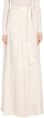 St. John Flocked Glitter Crinkle Chiffon Skirt