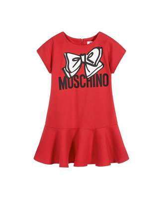 Moschino Bow Logo Cap Sleeve Dress Colour: RED, Size: Age 10