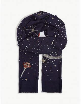 Janavi Star Delight embellished cashmere scarf