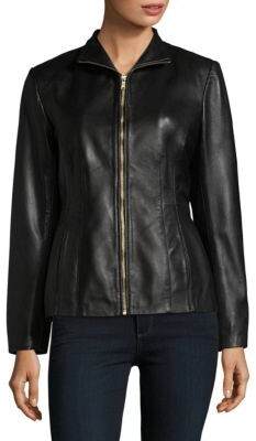 Cole Haan Leather Princess-Seam Jacket