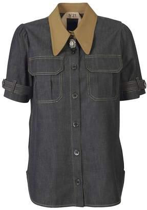 N°21 N.21 Brooch Denim Shirt