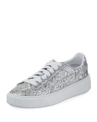 Puma Basket Glitter Platform Sneaker, Gray Metallic