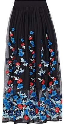 Maje Embroidered Tulle Midi Skirt