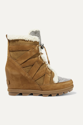 Sorel Joan Of Arctic Wedge Ii Shearling-trimmed Waterproof Nubuck, Suede And Felt Ankle Boots - Brown