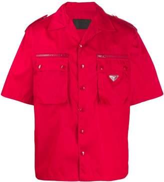 Prada gabardine shirt with epaulettes