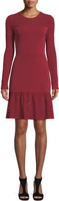 MICHAEL Michael Kors Mixed-Media Dress w/ Sheer Yoke & Sleeves
