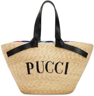 Emilio Pucci Logo Straw Bucket Bag