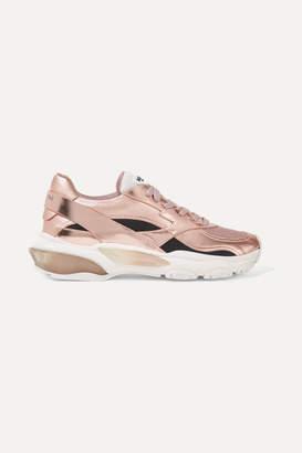 4ce587edbac77 Valentino Garavani Bounce Metallic Leather And Mesh Sneakers - Pink