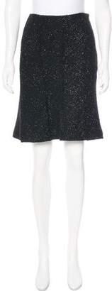 Alberta Ferretti Metallic Tweed Knee-Length Skirt