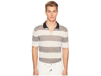 Eleventy Bold Stripe Polo Men's Short Sleeve Pullover