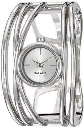 Nine West Women's NW/1975SVSB -Tone Open Bangle Watch