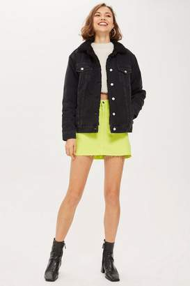 Topshop Black Borg Collar Denim Jacket